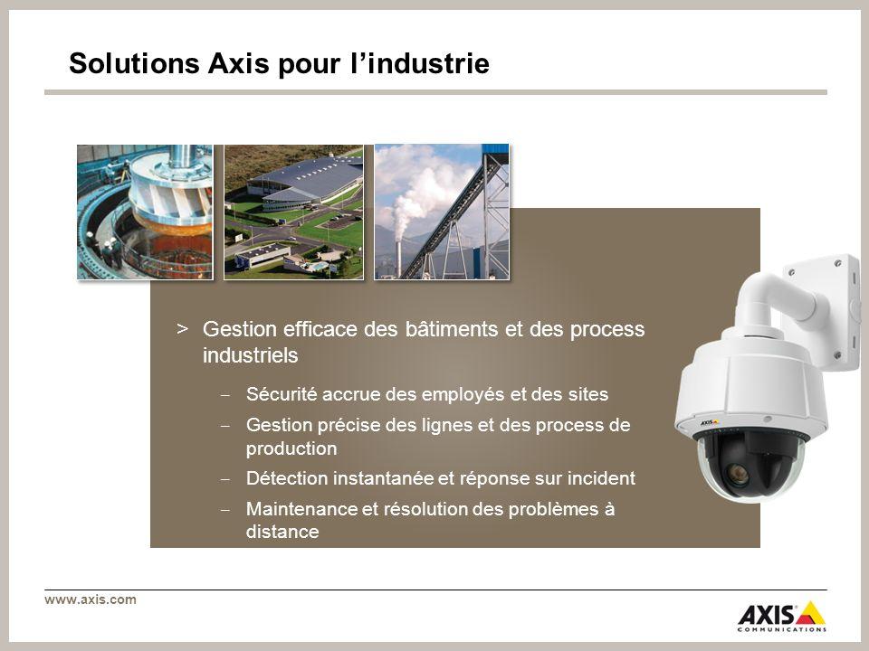 www.axis.com Solutions Axis pour lindustrie >Gestion efficace des bâtiments et des process industriels Sécurité accrue des employés et des sites Gesti