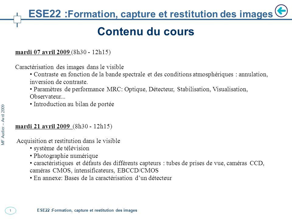 1 MF Audier – Avril 2009 Contenu du cours ESE22 : Formation, capture et restitution des images mardi 07 avril 2009 (8h30 - 12h15) Caractérisation des images dans le visible Contraste en fonction de la bande spectrale et des conditions atmosphériques : annulation, inversion de contraste.