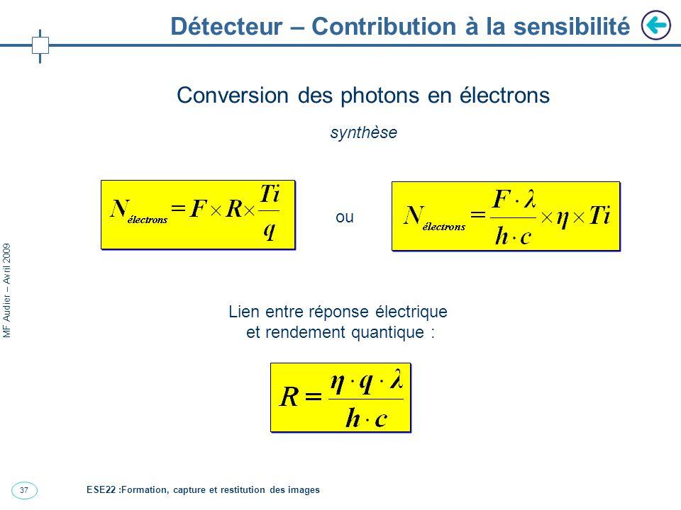 37 MF Audier – Avril 2009 Détecteur – Contribution à la sensibilité Conversion des photons en électrons synthèse Lien entre réponse électrique et rendement quantique : ou ESE22 :Formation, capture et restitution des images