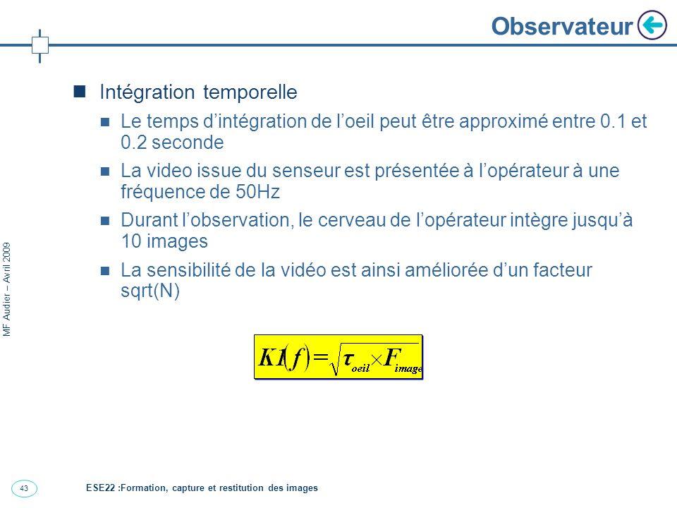 43 MF Audier – Avril 2009 Observateur Intégration temporelle Le temps dintégration de loeil peut être approximé entre 0.1 et 0.2 seconde La video issue du senseur est présentée à lopérateur à une fréquence de 50Hz Durant lobservation, le cerveau de lopérateur intègre jusquà 10 images La sensibilité de la vidéo est ainsi améliorée dun facteur sqrt(N) ESE22 :Formation, capture et restitution des images