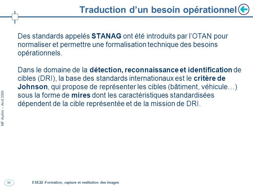 59 MF Audier – Avril 2009 Traduction dun besoin opérationnel Des standards appelés STANAG ont été introduits par lOTAN pour normaliser et permettre une formalisation technique des besoins opérationnels.