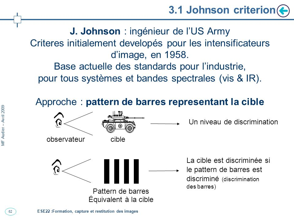 62 MF Audier – Avril 2009 3.1 Johnson criterion J. Johnson : ingénieur de lUS Army Criteres initialement developés pour les intensificateurs dimage, e