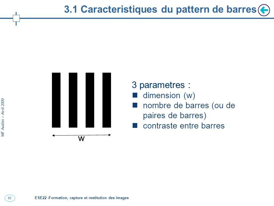 63 MF Audier – Avril 2009 3.1 Caracteristiques du pattern de barres 3 parametres : dimension (w) nombre de barres (ou de paires de barres) contraste entre barres w ESE22 :Formation, capture et restitution des images