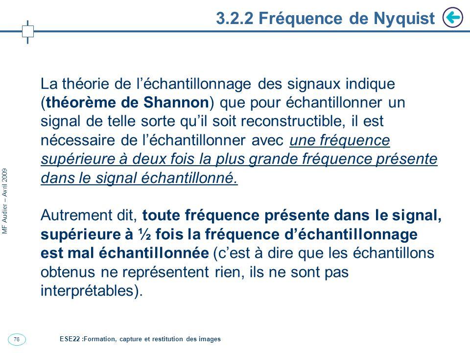 76 MF Audier – Avril 2009 3.2.2 Fréquence de Nyquist La théorie de léchantillonnage des signaux indique (théorème de Shannon) que pour échantillonner un signal de telle sorte quil soit reconstructible, il est nécessaire de léchantillonner avec une fréquence supérieure à deux fois la plus grande fréquence présente dans le signal échantillonné.
