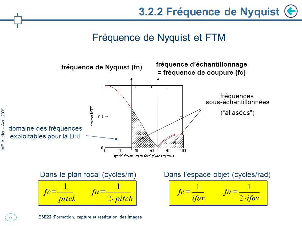77 MF Audier – Avril 2009 3.2.2 Fréquence de Nyquist Fréquence de Nyquist et FTM fréquence déchantillonnage = fréquence de coupure (fc) fréquences sous-échantillonnées (aliasées) fréquence de Nyquist (fn) Dans le plan focal (cycles/m)Dans lespace objet (cycles/rad) domaine des fréquences exploitables pour la DRI ESE22 :Formation, capture et restitution des images