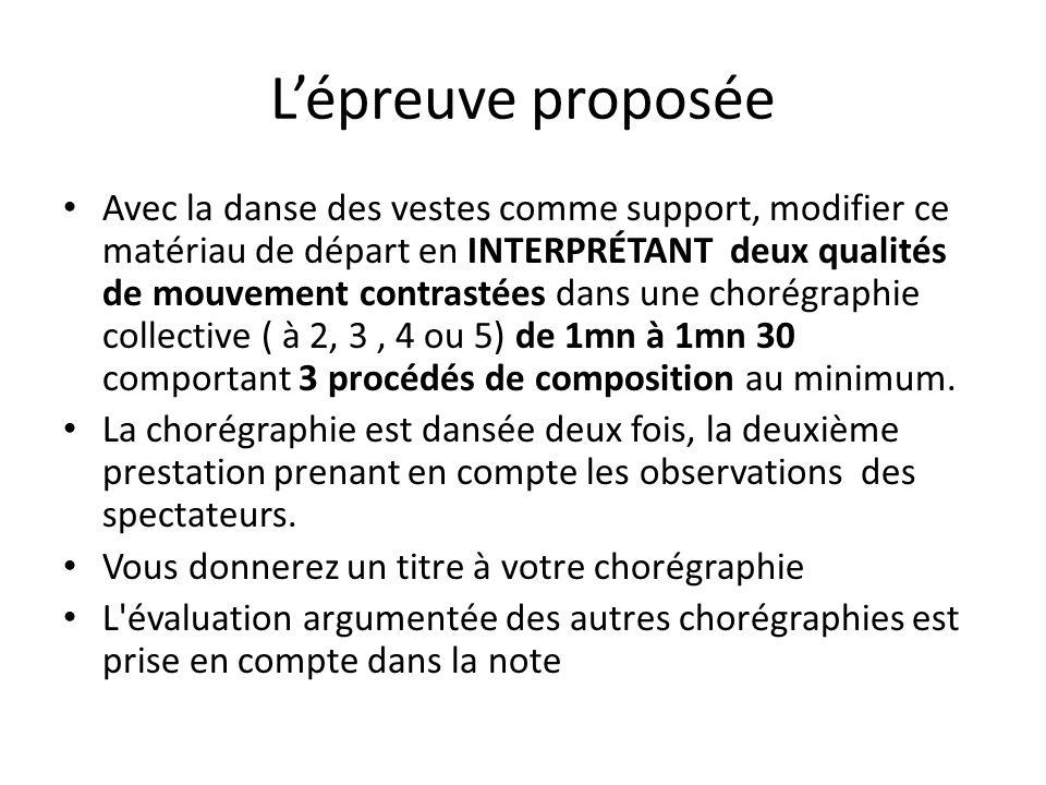 Lépreuve proposée Avec la danse des vestes comme support, modifier ce matériau de départ en INTERPRÉTANT deux qualités de mouvement contrastées dans u