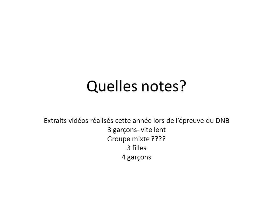 Quelles notes? Extraits vidéos réalisés cette année lors de lépreuve du DNB 3 garçons- vite lent Groupe mixte ???? 3 filles 4 garçons