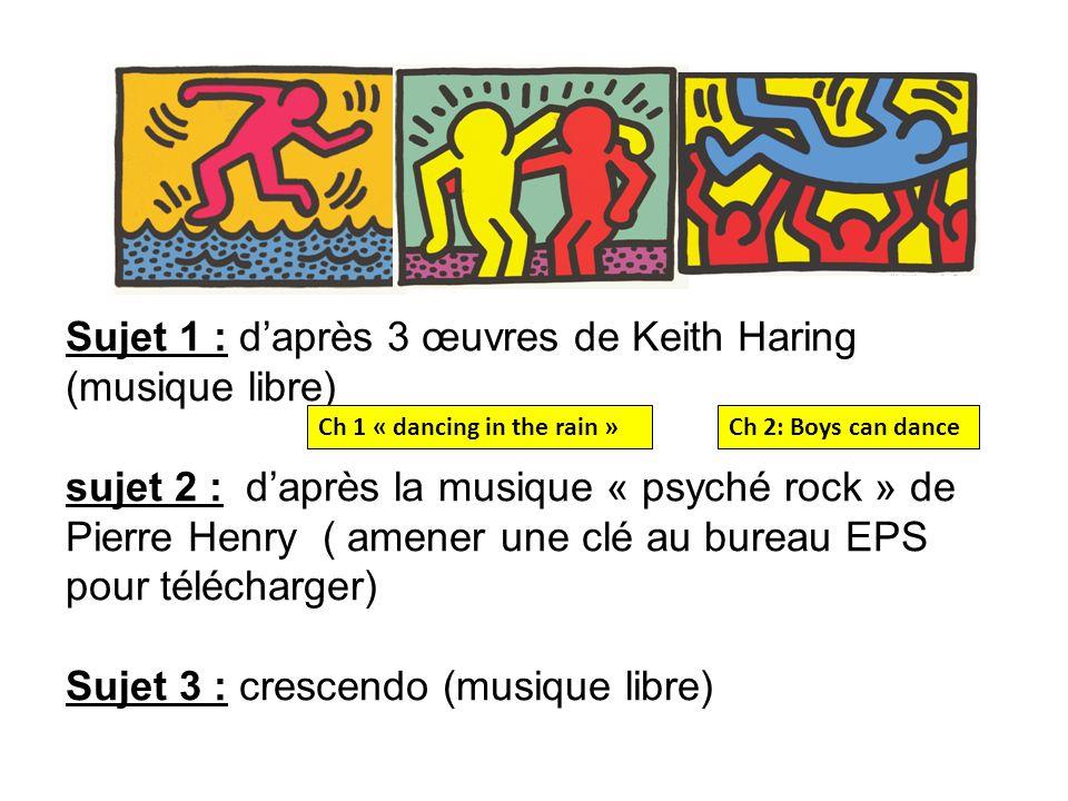 Sujet 1 : daprès 3 œuvres de Keith Haring (musique libre) sujet 2 : daprès la musique « psyché rock » de Pierre Henry ( amener une clé au bureau EPS p