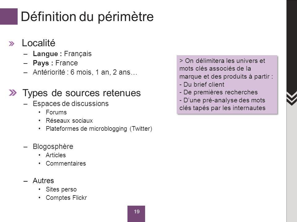 Définition du périmètre Localité –Langue : Français –Pays : France –Antériorité : 6 mois, 1 an, 2 ans… Types de sources retenues –Espaces de discussio