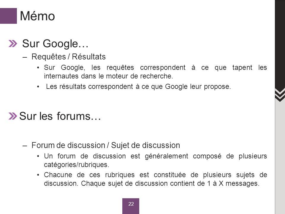 Mémo Sur Google… –Requêtes / Résultats Sur Google, les requêtes correspondent à ce que tapent les internautes dans le moteur de recherche. Les résulta