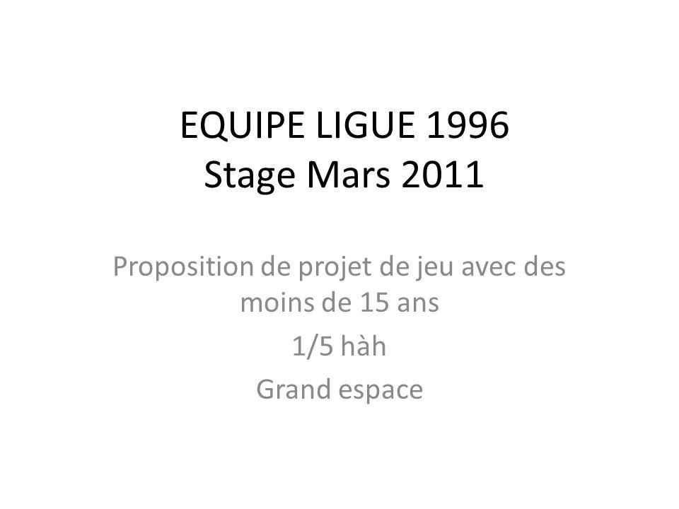 EQUIPE LIGUE 1996 Stage Mars 2011 Proposition de projet de jeu avec des moins de 15 ans 1/5 hàh Grand espace