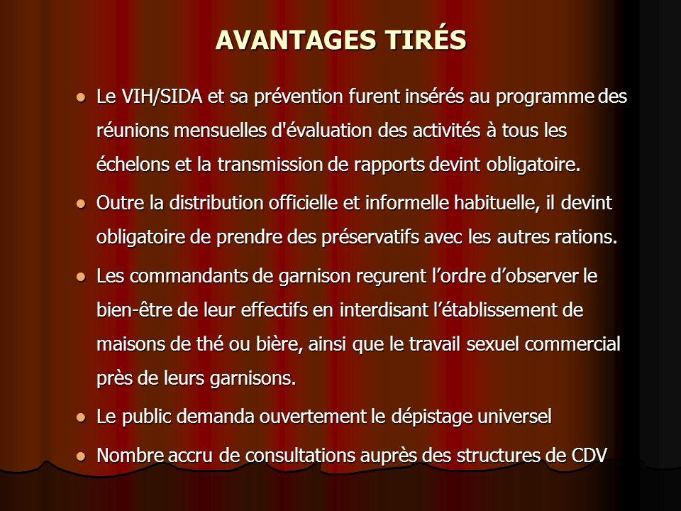 AVANTAGES TIRÉS Le VIH/SIDA et sa prévention furent insérés au programme des réunions mensuelles d évaluation des activités à tous les échelons et la transmission de rapports devint obligatoire.
