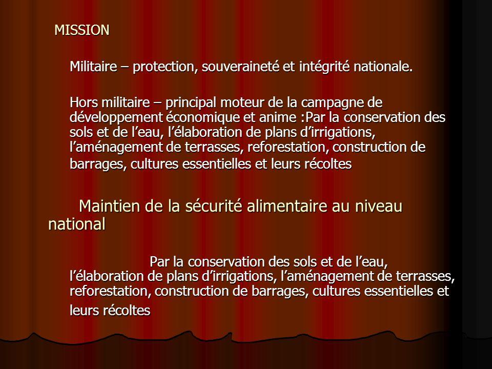 MISSION Militaire – protection, souveraineté et intégrité nationale.