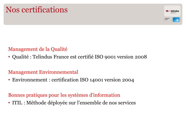 Nos certifications Management de la Qualité Qualité : Telindus France est certifié ISO 9001 version 2008 Management Environnemental Environnement : certification ISO 14001 version 2004 Bonnes pratiques pour les systèmes dinformation ITIL : Méthode déployée sur lensemble de nos services