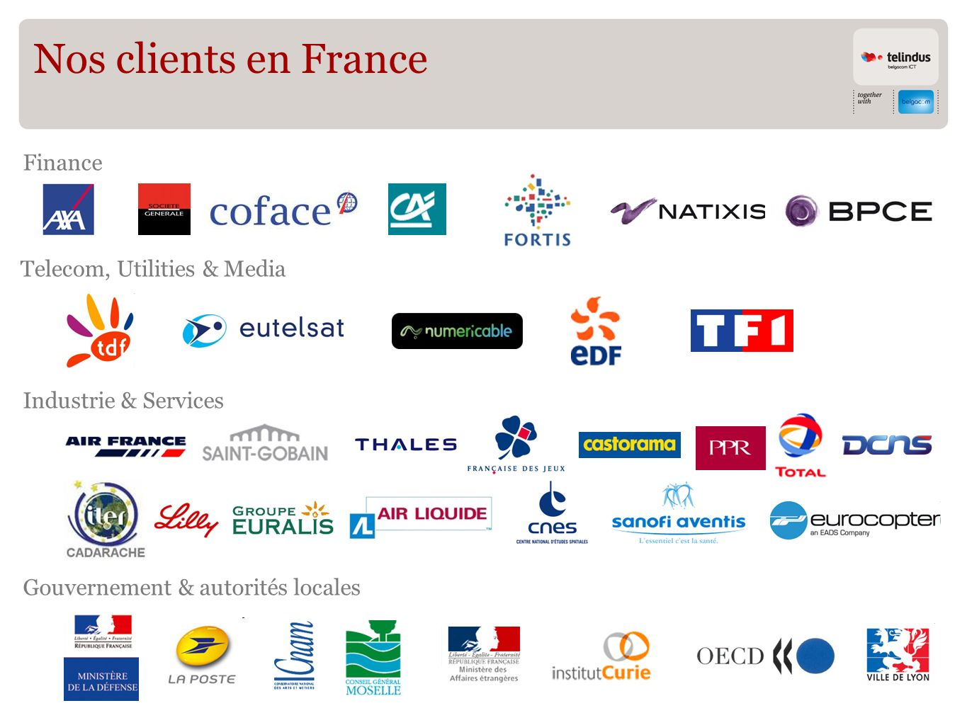 Nos clients en France Finance Gouvernement & autorités locales Industrie & Services Telecom, Utilities & Media