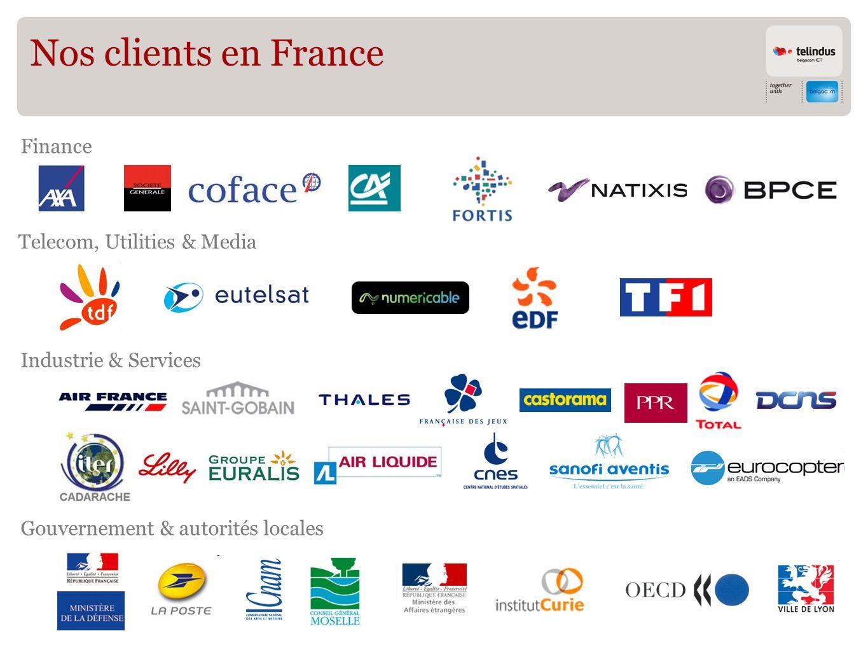 Nos clients en France Finance Gouvernement & autorités locales Industrie & Services Telecom, Utilities & Media