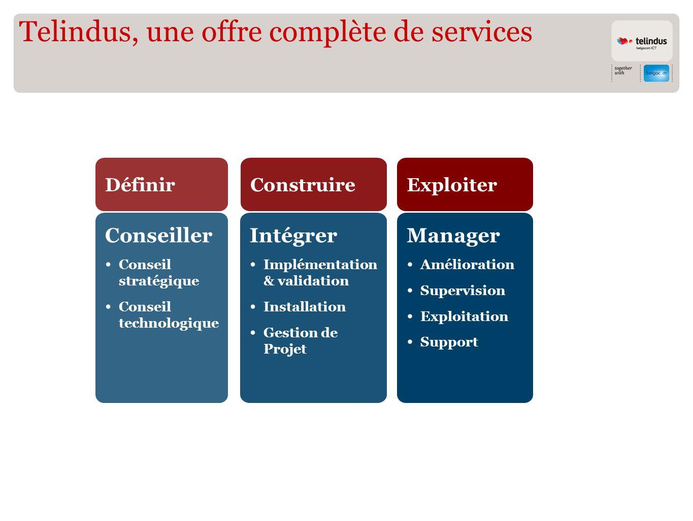 Telindus, une offre complète de solutions Sécurité ConseillerIntégrerManager Data Center Communications unifiées XAN Connectivité