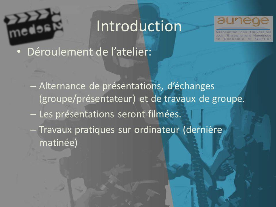 Introduction Déroulement de latelier: – Alternance de présentations, déchanges (groupe/présentateur) et de travaux de groupe.
