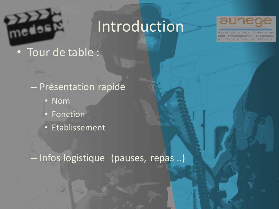 Introduction Tour de table : – Présentation rapide Nom Fonction Etablissement – Infos logistique (pauses, repas..)
