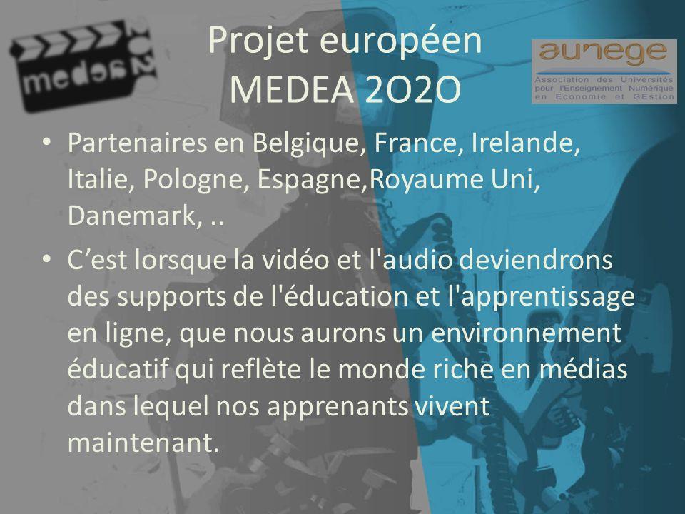 Projet européen MEDEA 2O2O Partenaires en Belgique, France, Irelande, Italie, Pologne, Espagne,Royaume Uni, Danemark,..