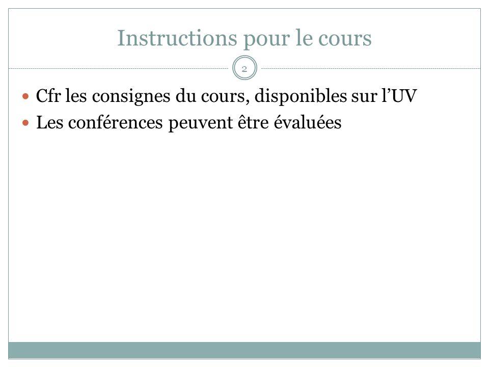 Instructions pour le cours Cfr les consignes du cours, disponibles sur lUV Les conférences peuvent être évaluées 2