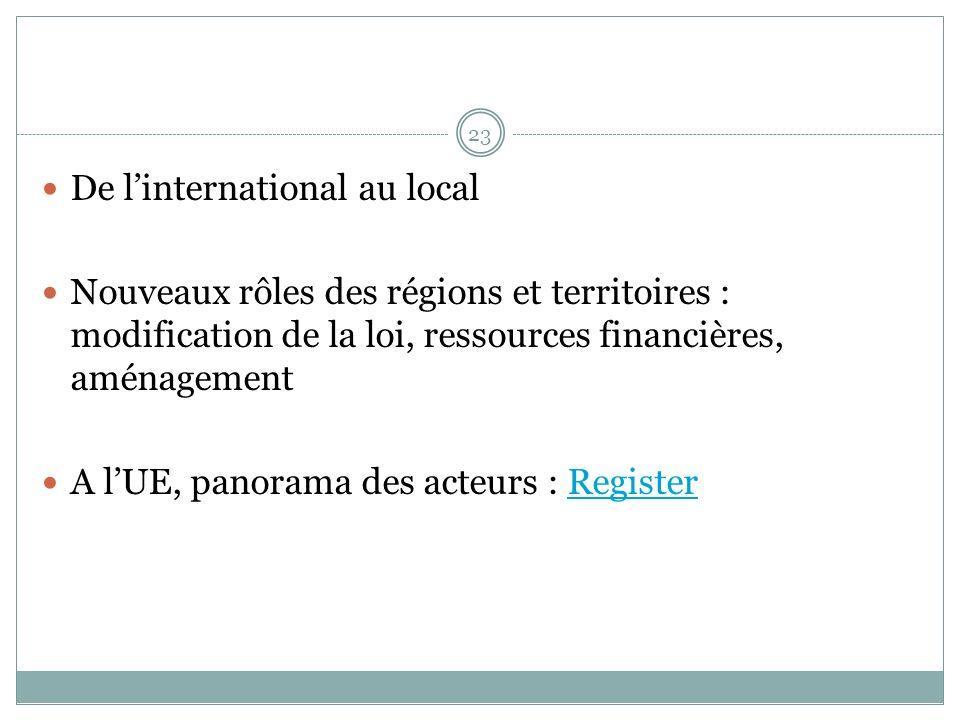 De linternational au local Nouveaux rôles des régions et territoires : modification de la loi, ressources financières, aménagement A lUE, panorama des acteurs : RegisterRegister 23