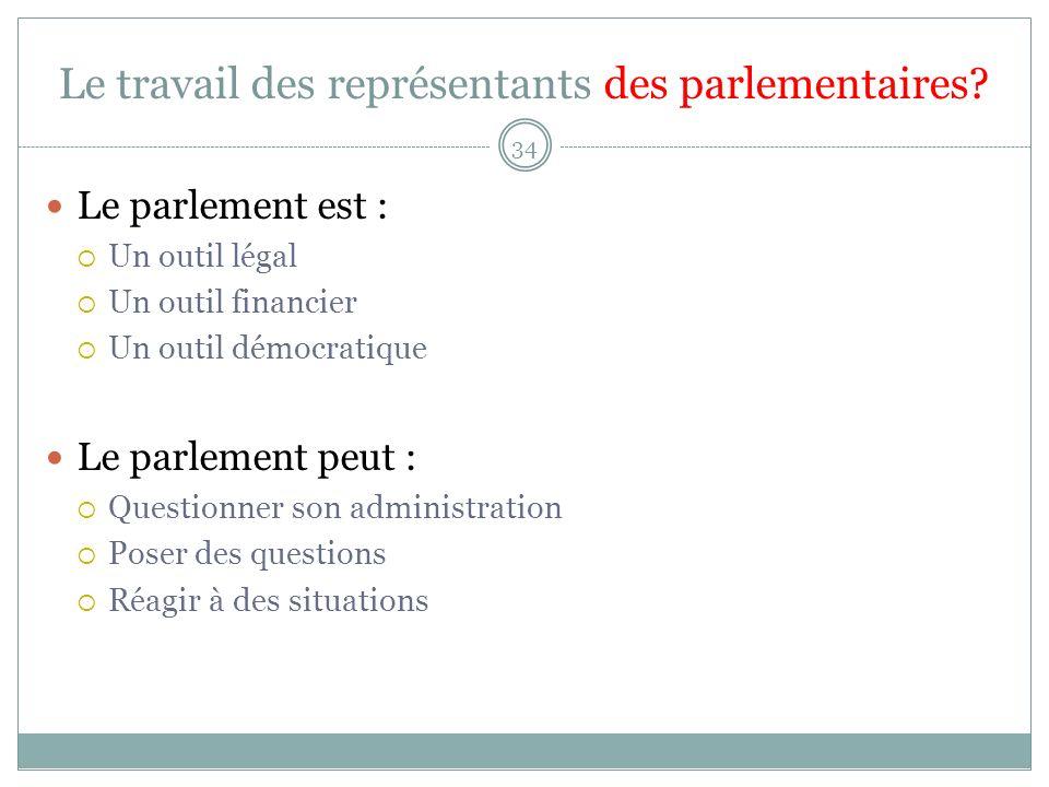Le travail des représentants des parlementaires.