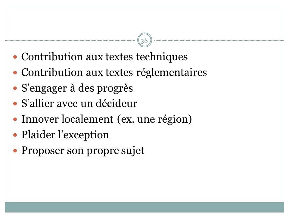 Contribution aux textes techniques Contribution aux textes réglementaires Sengager à des progrès Sallier avec un décideur Innover localement (ex.