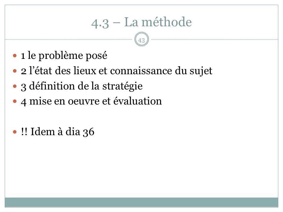4.3 – La méthode 1 le problème posé 2 létat des lieux et connaissance du sujet 3 définition de la stratégie 4 mise en oeuvre et évaluation !.