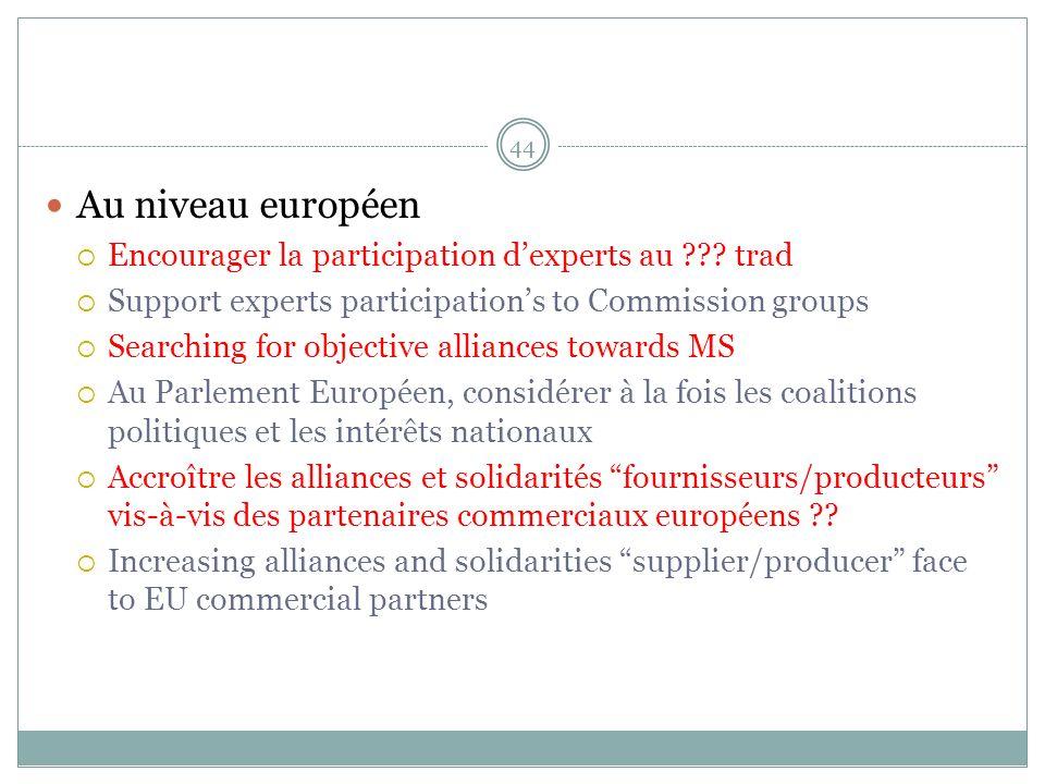 Au niveau européen Encourager la participation dexperts au .