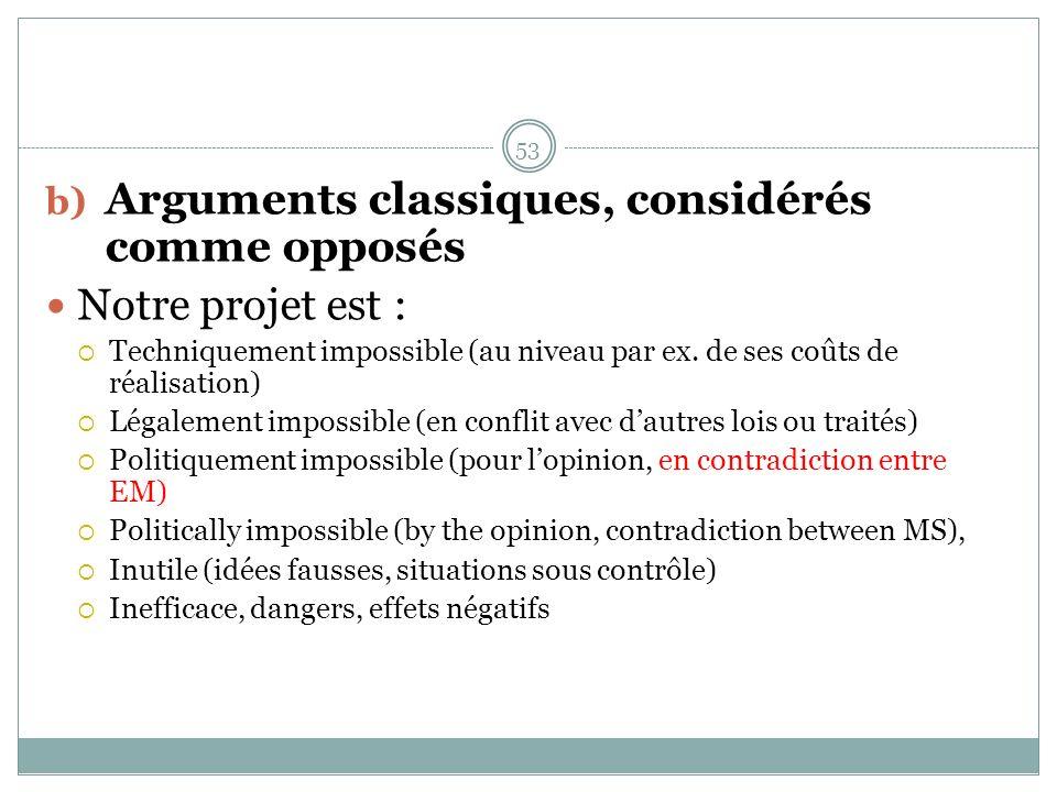b) Arguments classiques, considérés comme opposés Notre projet est : Techniquement impossible (au niveau par ex.