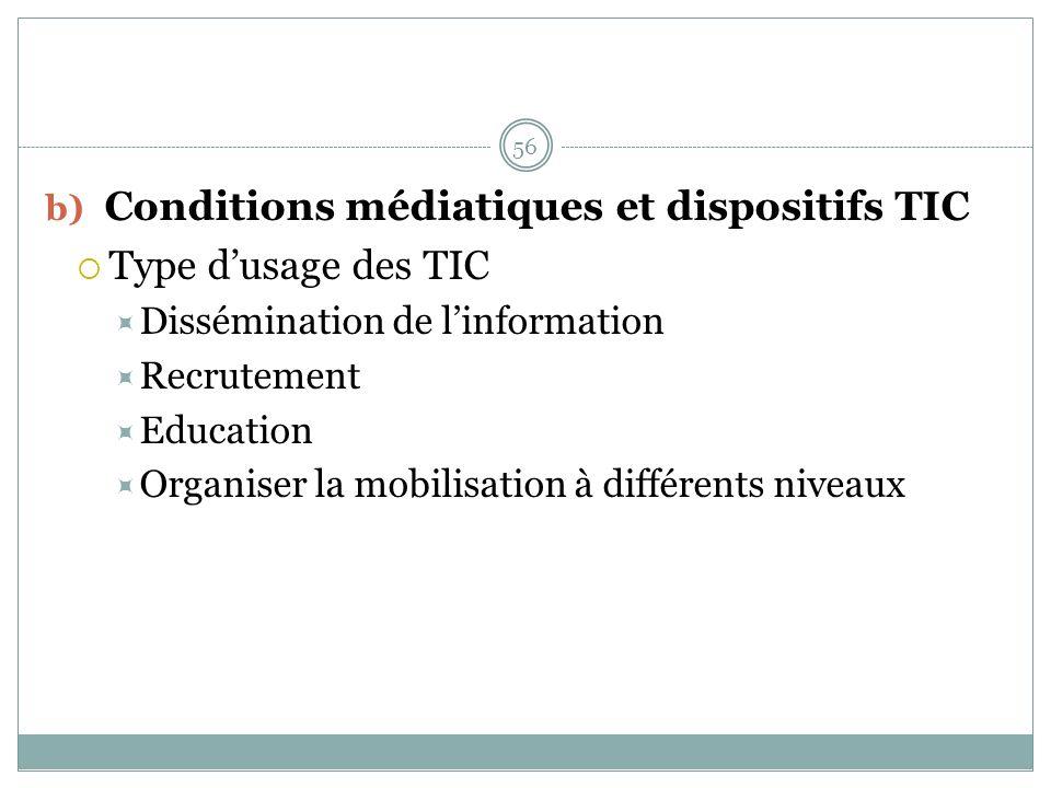 b) Conditions médiatiques et dispositifs TIC Type dusage des TIC Dissémination de linformation Recrutement Education Organiser la mobilisation à différents niveaux 56