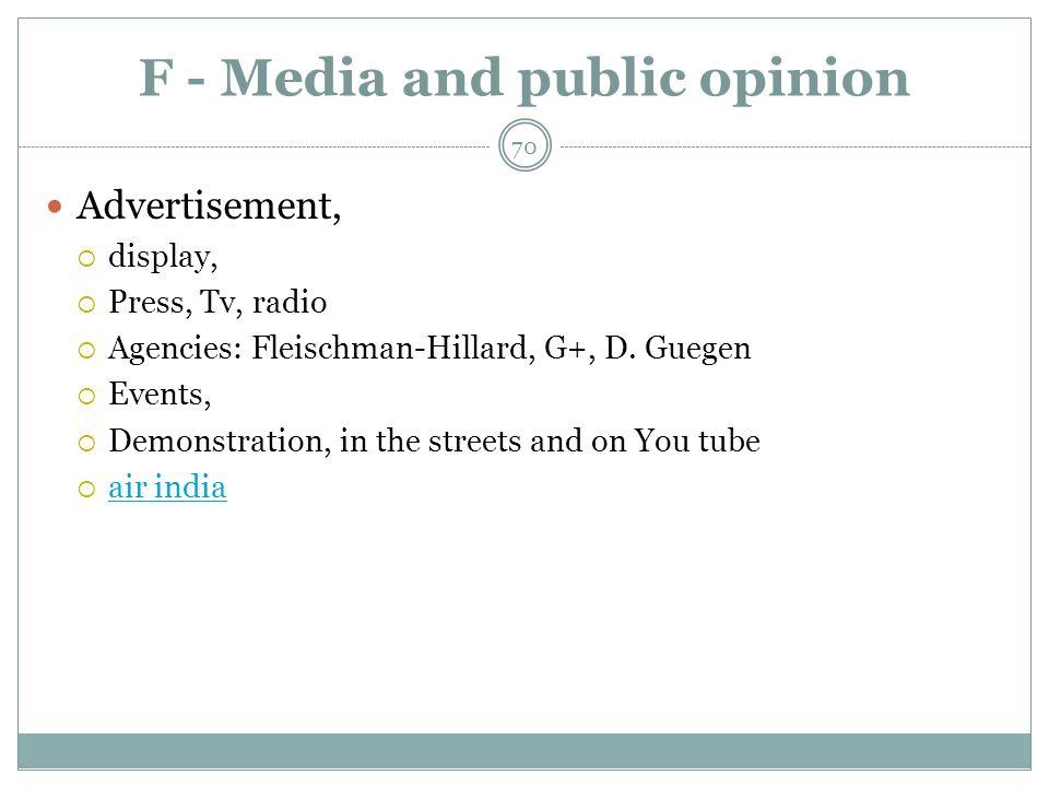 F - Media and public opinion Advertisement, display, Press, Tv, radio Agencies: Fleischman-Hillard, G+, D.