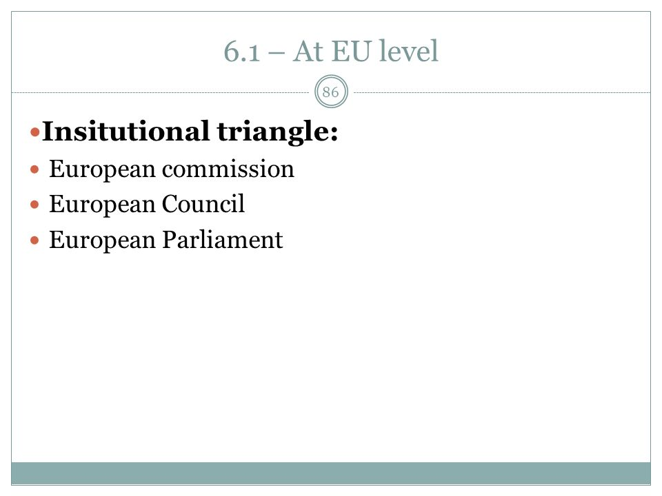 6.1 – At EU level Insitutional triangle: European commission European Council European Parliament 86