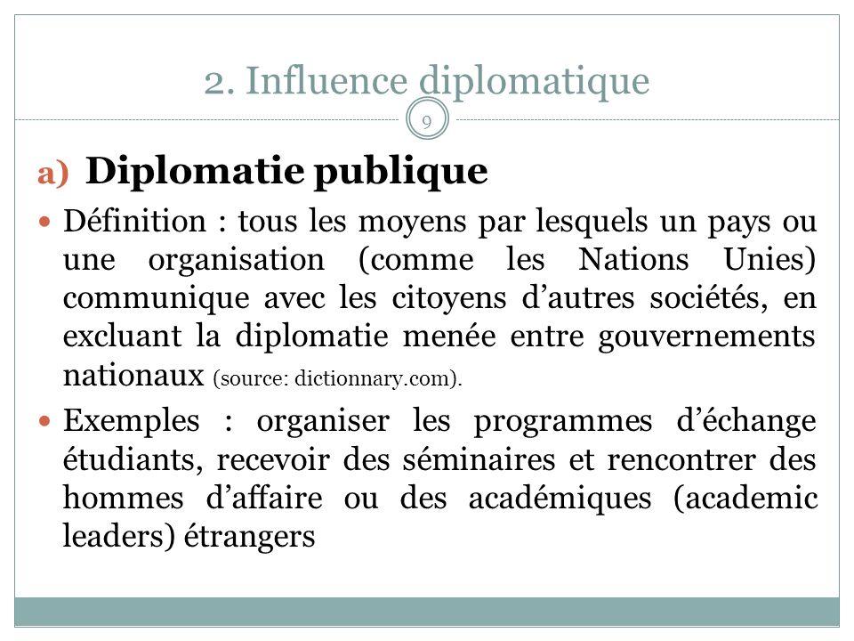 2. Influence diplomatique a) Diplomatie publique Définition : tous les moyens par lesquels un pays ou une organisation (comme les Nations Unies) commu