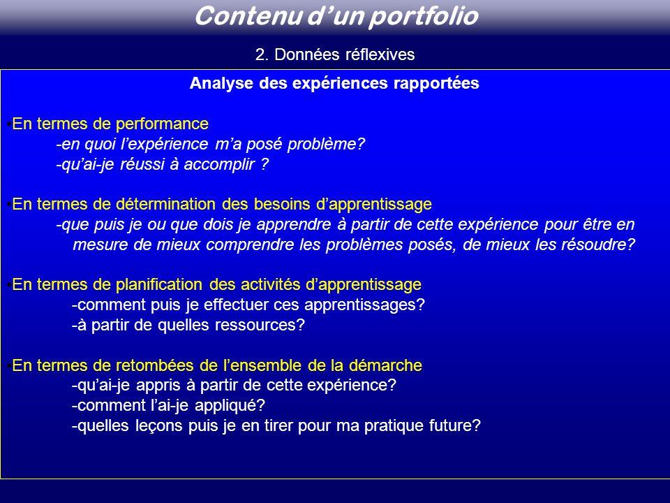 Analyse des expériences rapportées En termes de performance -en quoi lexpérience ma posé problème? -quai-je réussi à accomplir ? En termes de détermin