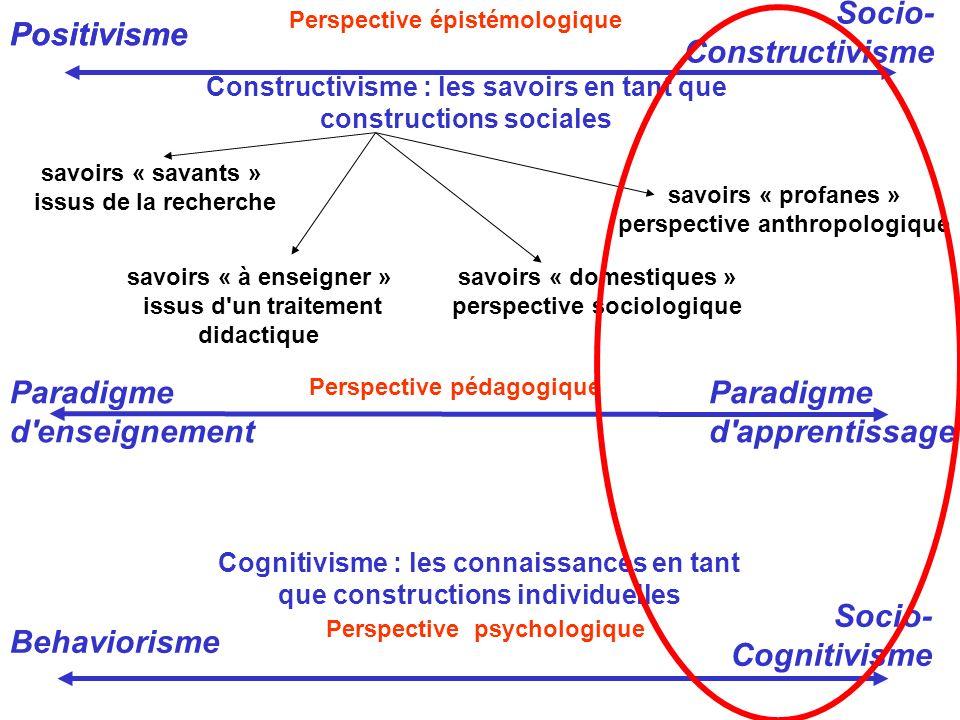 Constructivisme : les savoirs en tant que constructions sociales savoirs « savants » issus de la recherche savoirs « à enseigner » issus d'un traiteme
