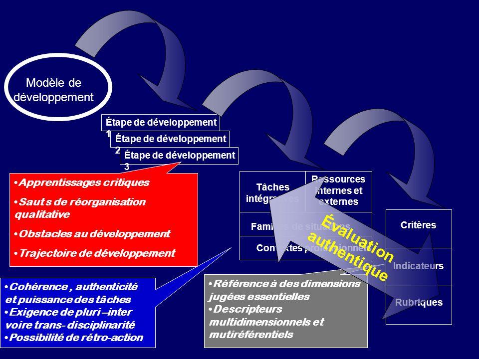 Modèle de développement Étape de développement 1 Étape de développement 2 Étape de développement 3 Tâches intégratives Ressources internes et externes