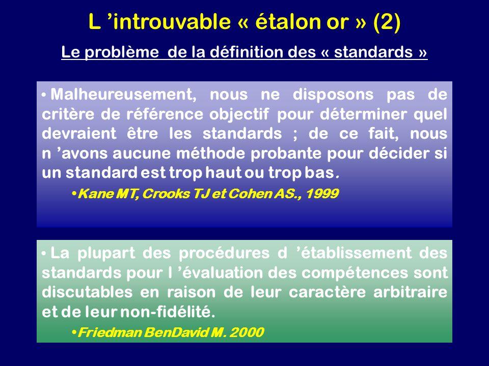 L introuvable « étalon or » (2) Le problème de la définition des « standards » Malheureusement, nous ne disposons pas de critère de référence objectif