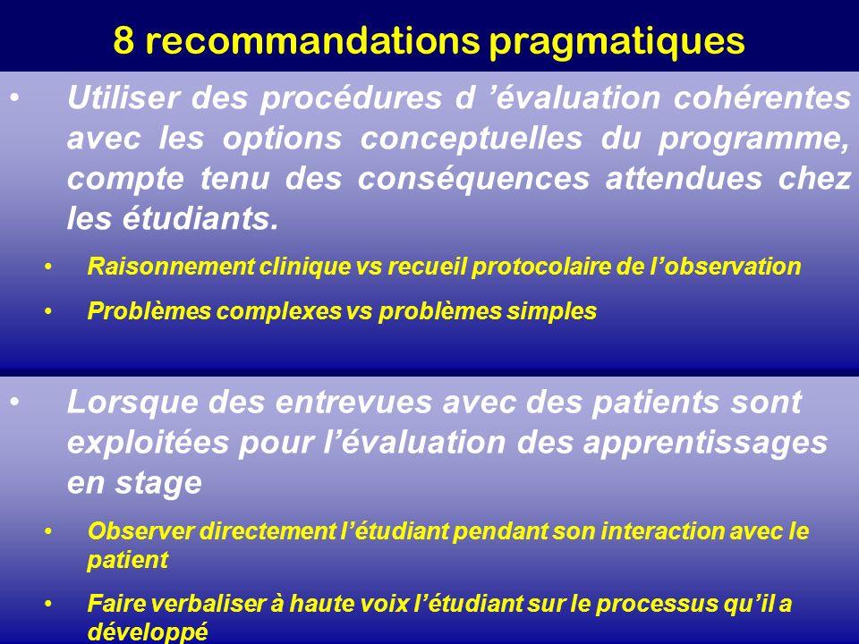 8 recommandations pragmatiques Utiliser des procédures d évaluation cohérentes avec les options conceptuelles du programme, compte tenu des conséquenc