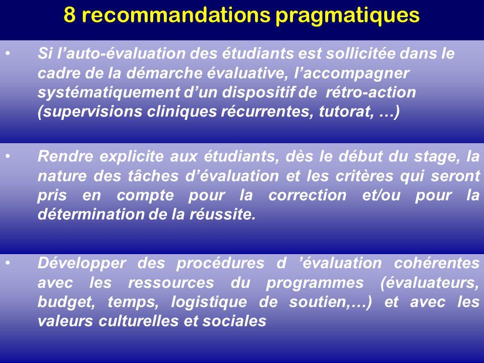 8 recommandations pragmatiques Développer des procédures d évaluation cohérentes avec les ressources du programmes (évaluateurs, budget, temps, logist