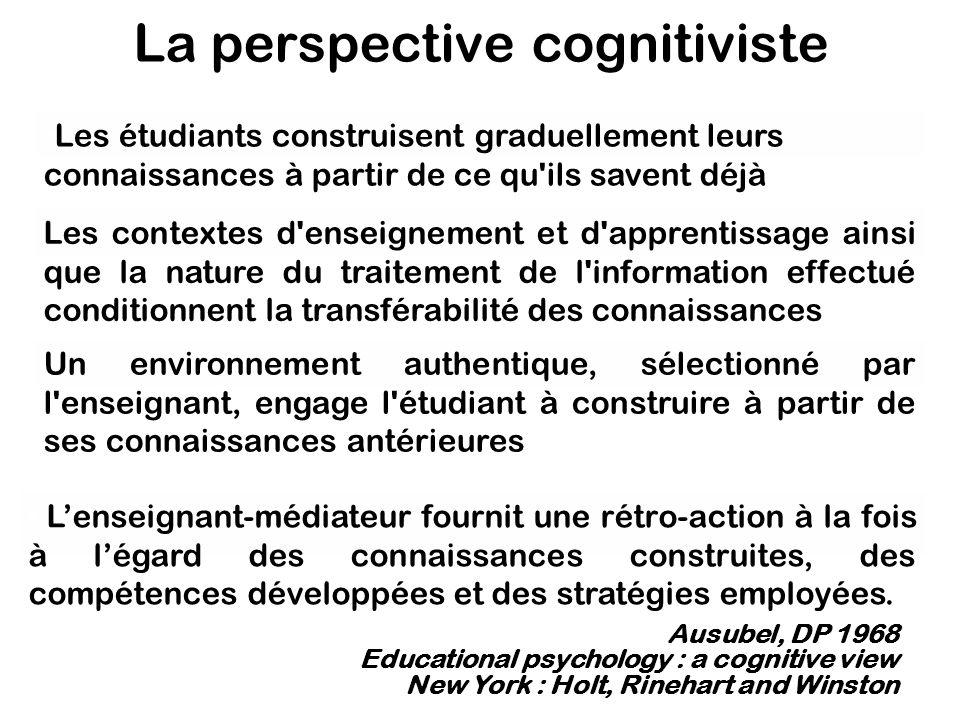 La perspective cognitiviste Les contextes d'enseignement et d'apprentissage ainsi que la nature du traitement de l'information effectué conditionnent