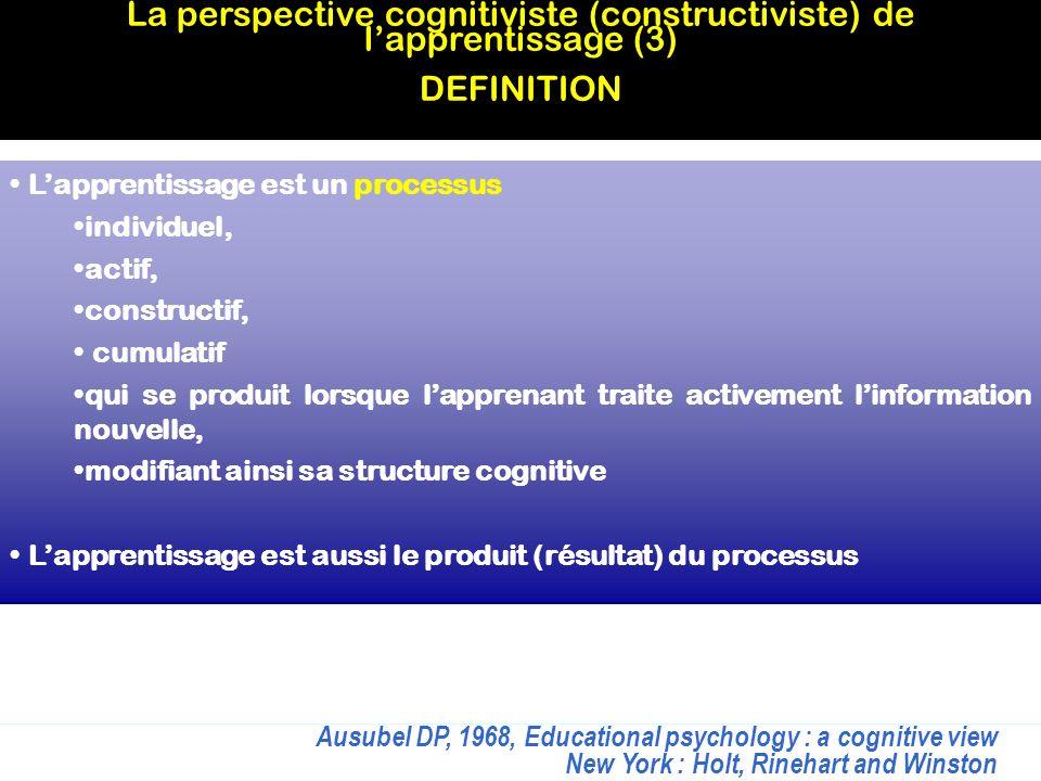Lapprentissage est un processus individuel, actif, constructif, cumulatif qui se produit lorsque lapprenant traite activement linformation nouvelle, m