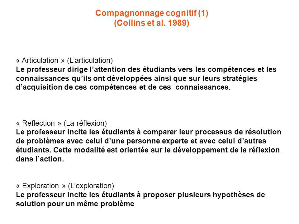 Compagnonnage cognitif (1) (Collins et al. 1989) « Articulation » (Larticulation) Le professeur dirige lattention des étudiants vers les compétences e