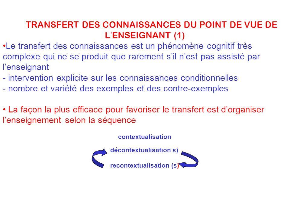 LE TRANSFERT DES CONNAISSANCES DU POINT DE VUE DE L ENSEIGNANT (1) Le transfert des connaissances est un phénomène cognitif très complexe qui ne se pr