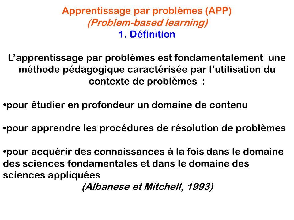 Apprentissage par problèmes (APP) (Problem-based learning) 1. Définition Lapprentissage par problèmes est fondamentalement une méthode pédagogique car