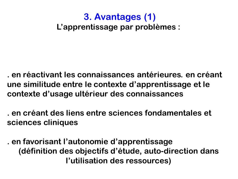 3. Avantages (1) Lapprentissage par problèmes : -améliore lacquisition, la rétention et le rappel de connaissances :. en réactivant les connaissances
