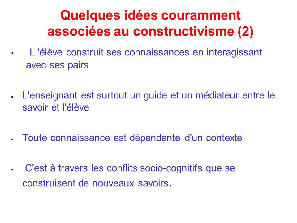 Quelques idées couramment associées au constructivisme (2) L 'élève construit ses connaissances en interagissant avec ses pairs L'enseignant est surto