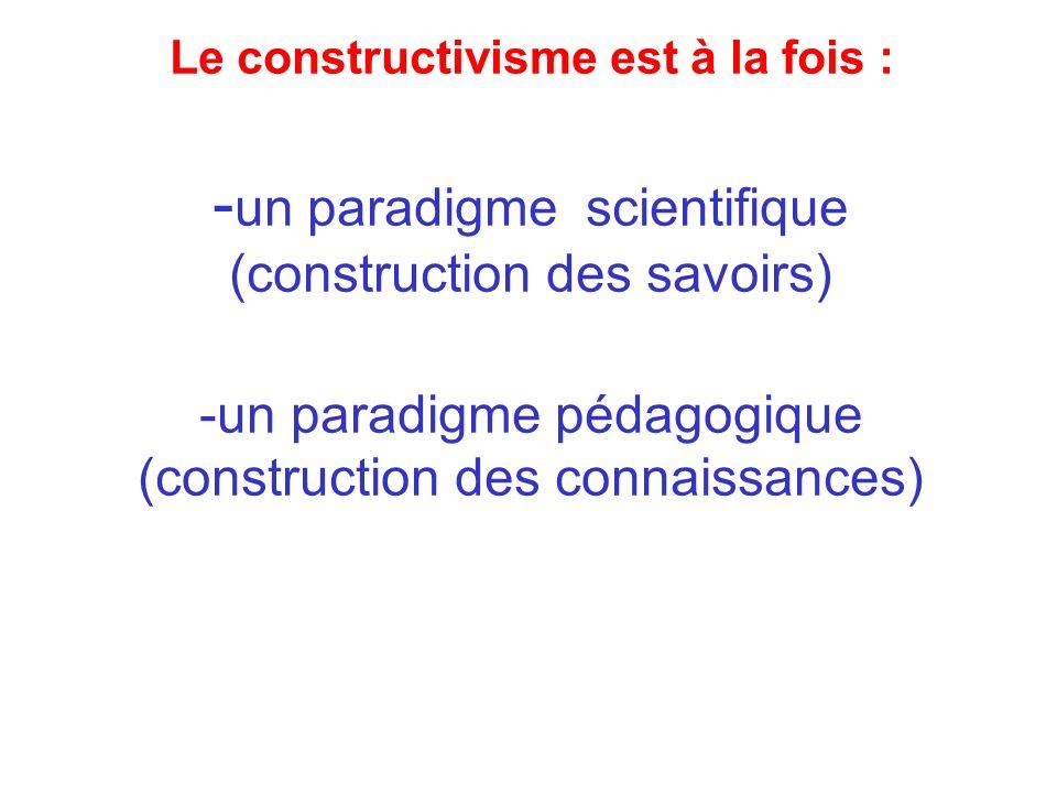 Le constructivisme est à la fois : - un paradigme scientifique (construction des savoirs) -un paradigme pédagogique (construction des connaissances)