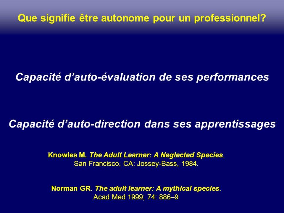 Capacité dauto-direction dans ses apprentissages Capacité dauto-évaluation de ses performances Que signifie être autonome pour un professionnel? Norma